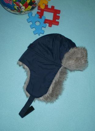 Зимняя шапка на мальчика 6-8лет ушанка