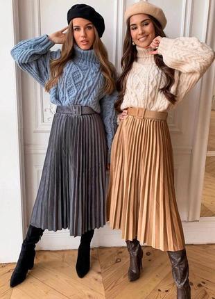 Бархатные плиссированые юбки с поясом семь цветов