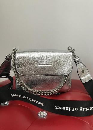 Кожаная сумочка серебро кроссбоди сумка