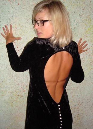 Бархатное платье с открытой спинкой