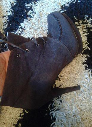Зимние ботинки ботильоні ботильены замш замшевые брендовые