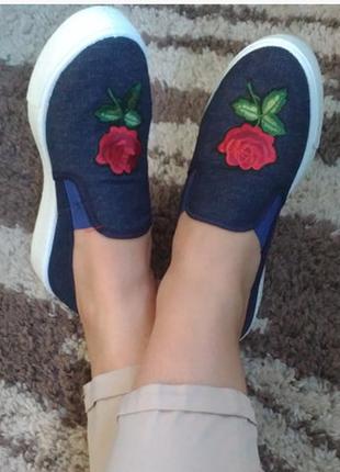 Слипоны мокасины джинс троянда 36и37р