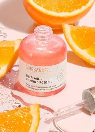Увлажняющее масло biossance squalane + vitamin c rose oil