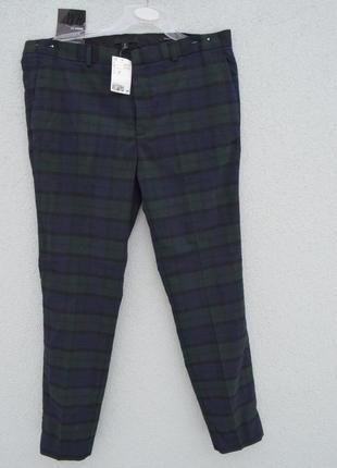 Красивые стильные мужские брюки в клетку с шерстью