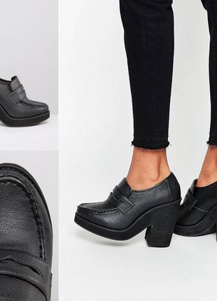 Лоферы туфли на каблуке и платформе asos