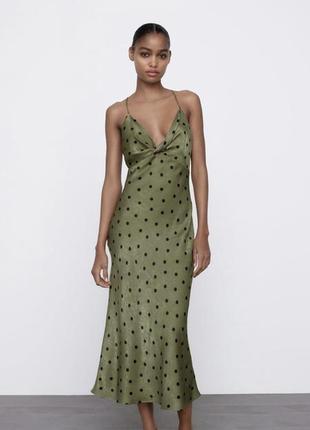 Платье в горох в бельевом стиле зара из сатина