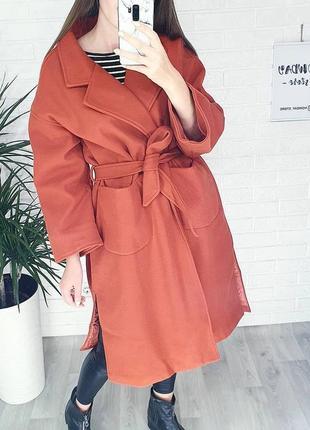 Женское терракотовое оверсайз весенее пальто халат. жіноче пальто весняне.