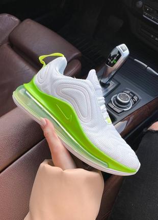 Женские стильные весенние кроссовки nike air max 720 white green