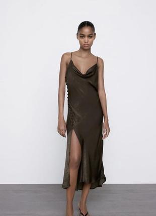 Платье в бельевом стиле из сатина зара