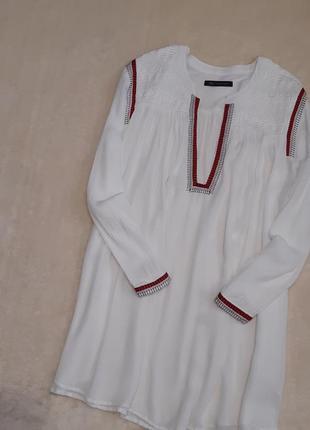 Белая свободная блузка с шитьём,тесьмой вышиванка батал размер 20-22 marks & spencer
