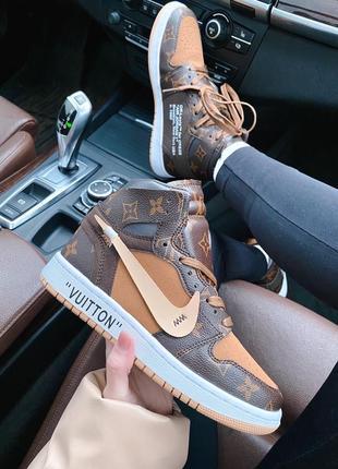Женские стильные весенние кроссовки nike x lv air jordan 1 retro high