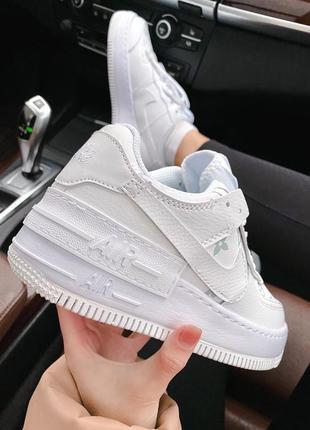 Женские стильные весенние кроссовки nike & lv air force 1 shadow white3 фото