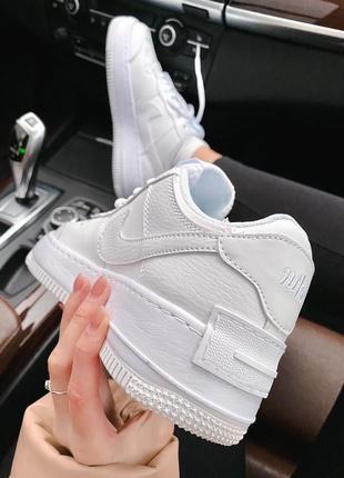 Женские стильные весенние кроссовки nike & lv air force 1 shadow white4 фото