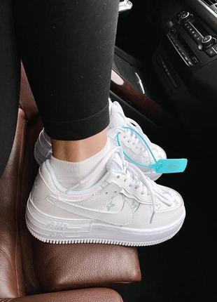 Женские стильные весенние кроссовки nike & lv air force 1 shadow white9 фото