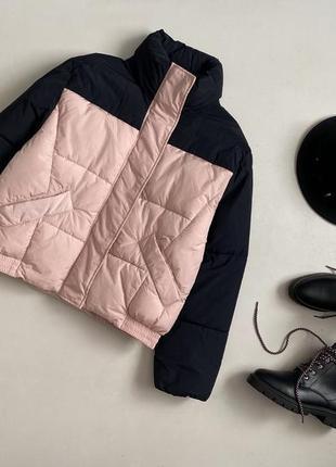 Крутая комбинированная куртка дутик / пуффер h&m