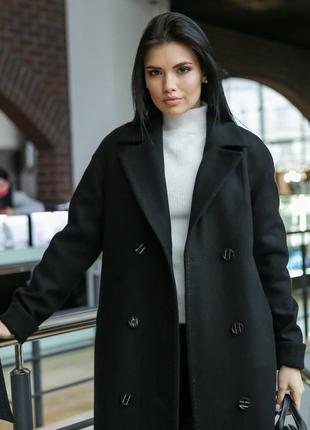 Пальто женское демисезонное длинное теплое двубортное размеры: 40-52