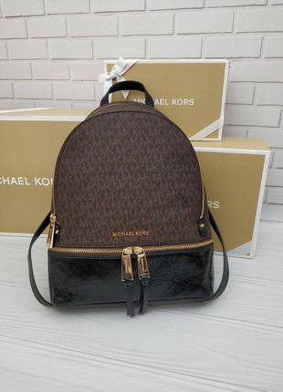 Рюкзак michael kors rhea medium logo and leather backpack кожа оригинал