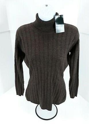 Шикарный теплый коричневый свитер с горловиной натуральная шерсть мериноса