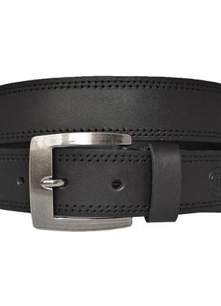 Кожаный мужской ремень черный прошитый джинсовый superbelt2