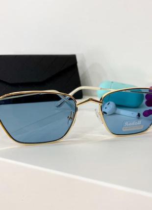 Голубые солнцезащитные очки бирюза женские в тонкой оправе с тонкими золотыми дужками