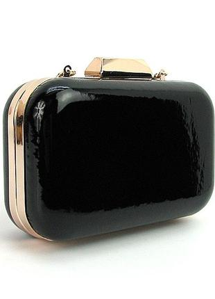 Вечерняя черная сумочка клатч бокс через плечо лаковая маленькая на цепочке