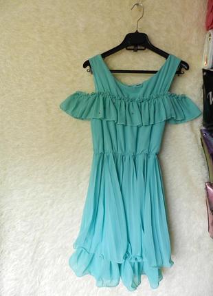 Распродажа платье ✅ ✅ платье с воланом шифон дефект