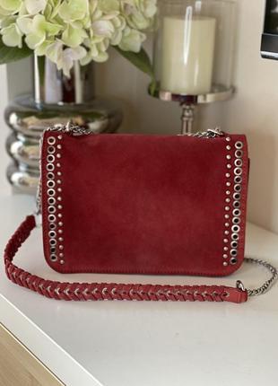 Замшевая сумка, красная сумка, кожаная, стильная zara