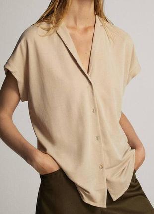 Шикарная стильная брендовая блуза рубашка оверсайз massimo dutti оригинал