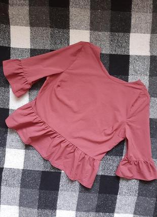 Розовая блузка с красивой спинкой/рожева блузка  з баскою