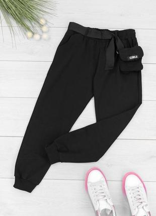 Женские спортивные черные брюки штаны с поясом