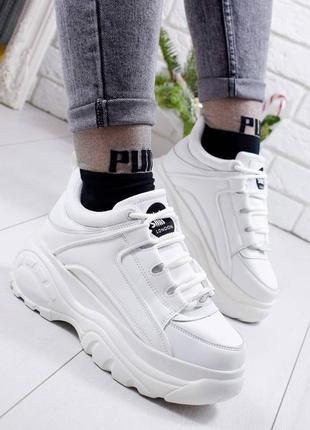 Белые женские кроссовки в стиле buff@lo, белые кроссовки 36-39р