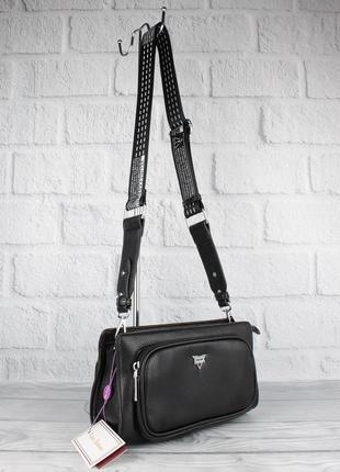 Модный клатч, сумочка через плечо velina fabbiano 592107-3 черная на широком ремешке