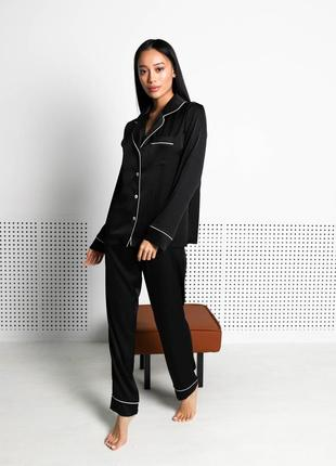 Женская пижама шелк армани jesika рубашка и штаны черная