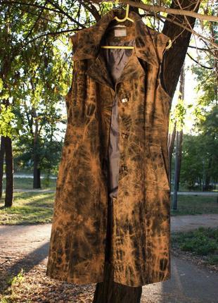 Кейп жилетка длинный плащ на подкладке