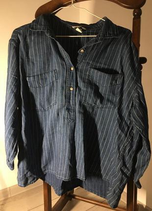Оверсайз рубашка с рукавами 3/4 из 100% коттона