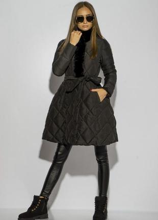 Новое неординарное женское демисезонное стёганое пальто черного цвета с пышной юбкой