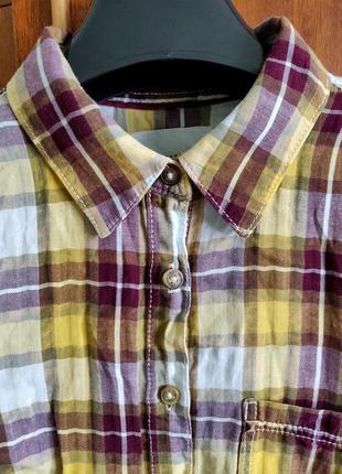 Женская рубашка в клетку 100% хлопок