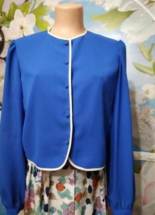 Винтажный блейзер жакет  блуза василькового цвета