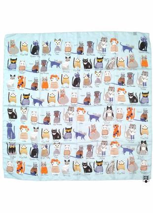 Батистовый тонкий бамбуковый платок с котами, кошками голубой бамбук коты, котики новый