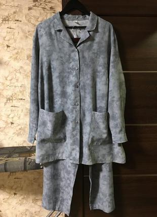 Оригинальный брючный костюм в пижамном стиле!!
