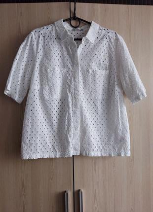 Хлопковая блуза рубашка с выбитым рисунком перфорация прошва