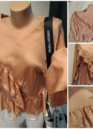 Свободная шелковистая рубашка кофточка блузка кроп топ