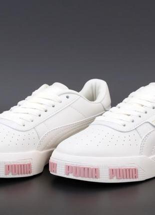 Кожанные белые женские кроссовки puma
