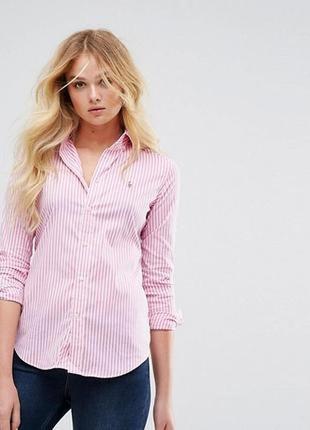 Розовая рубашка в полоску