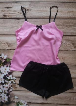Сатиновая пижамка, розовая пижама