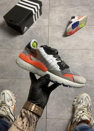 Кроссовки adidas nite jogger grey orange.
