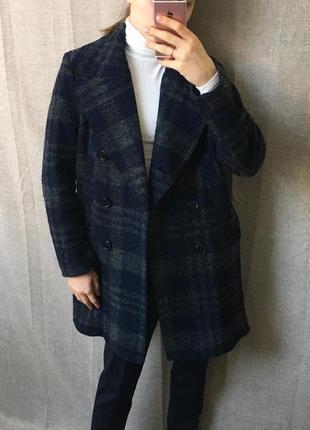 Шерстяное пальто h&m, в клетку, двубортное тёмно-синее