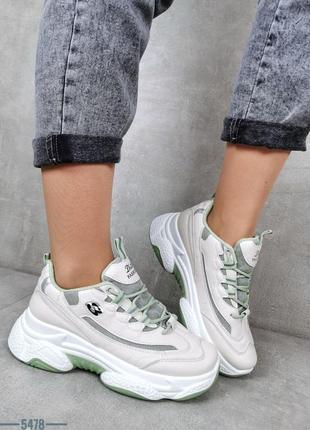 Кроссовки на платформе с зелеными вставками