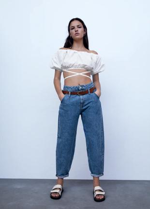 Свободные джинсы слоучи с ремнем с высокой посадкой zara