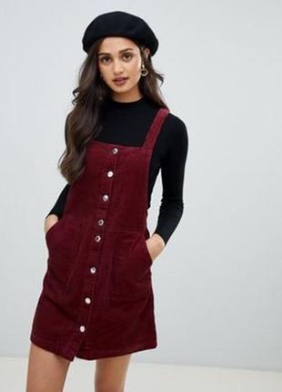 H&m платье сарафан бордо марсала винное вельветовое на пуговицах с карманами